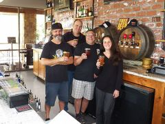 (From L to R) Ben Barker(Brewmaster), Daniel Biro, Steve Cuneo, Beth Ayres-Biro invite you to visit and celebrate their anniversary in Carmichael.