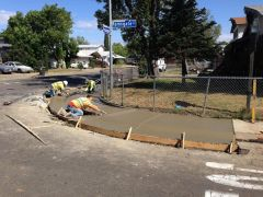 Workers make sidewalk improvements in the White Rock/Cordova Towne neighborhood as part of the City of Rancho Cordova's 2016 Street Rehabilitation Project.