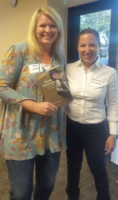 Ambassador Eleni Kounalakis stands with City of Rancho Cordova Senior Executive Assistant, Stacy Leitner, at the May Rancho Cordova Luncheon.