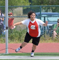 Cordova's Faauiga Toele, shown here competing at the Sierra Valley Conference finals in the discus recently, took second place in the shot put at the Sac-Joaquin Section