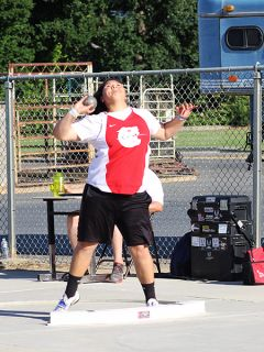 Cordova's Faauiga Toele competed in the shot put at the Sac-Joaquin Section's Masters Championships at Elk Grove High School toward the end of last week. 