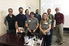 (L to R) Michael Halbern, Sierra College; Eric Ullrich, Hacker Lab; Lindsay Jackson, US Bank; Barbara Nichols, Sierra College Mechatronics student; Jagdeep Sohanpal, US Bank; Vivian Raeside, Sierra College Mechatronics student; Steve Hunter, Sierra College Faculty Maker in Residence; and Alan Shuttleworth, Sierra College. 