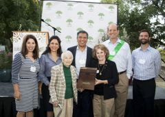 "On behalf of the City of Rancho Cordova, City staff and family members accepted the ""Growing Greenprint"" Tree Hero Award from the Sacramento Tree Foundation for the City's tree planting leadership. Pictured left to right: Maria Kniestedt, Vida Abhar, Cyrus Abhar, Steve Harriman, Albert Stricker. Front: Norma Niblett, Council Member Linda Budge. 
