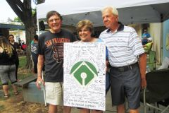 Celebrating on June 3 are left to right: Ray Willey, Special Softball Co-Director, and Honorees Donna and Frank Adams. 