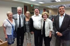 Barry Broome (center) President and Chief Executive Officer of Greater Sacramento Economic Council, enjoys a few laughs after his presentation with Councilman Bob McGarvey and his wife, Terri, Marianne Conarroe, District Director for Assemblyman Ken Cooley, City Councilmember Linda Budge and City Manager Cyrus Abhar. 