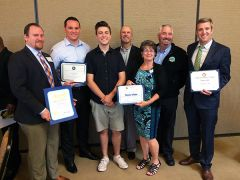 Tanner is honored by representatives from local political offices and the Citrus Heights city council for his hard work and leadership. Rosa Umbach presents him with his award. 