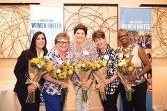 Tracy Sambrano, Ruth Miller, Romy Cody, Lorrie Wilson and Stephanie Bray are honored at the local United Way's annual Women in Philanthropy Member Celebration for serving on the group's Leadership Council for the past year. The group is now becoming Women United and joining the global Women United network. Photo by Beth Baugher