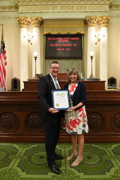 Assemblyman Ken Cooley and Karen Edwards of Rancho Cordova HART receiving the award. Photo courtesy Office of Ken Cooley.