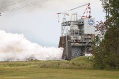 Aerojet Rocketdyne tests the third RS-25 flight controller on a developmental engine at NASA's Stennis Space Center on July 25, 2017. Photo courtesy Aerojet