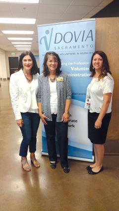 (L-R) Mariann Eitzman, volunteer coordinator, Bayside Church, Roseville, Rachele Doty, volunteer coordinator for First Call Hospice and vice chair, DOVIA, Sacramento, and Meredith Holkeboer, Volunteer Services Assistant/Pet Therapy Coordinator at Shriners Hospitals for Children, Sacramento, at a recent workshop lead by Eitzman on giving presentations. Photo by Jacqueline Fox