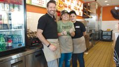 Togo's: John Cornwell, son of the owner of the new franchise with his staff members at the new Togo