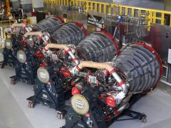 Aerojet Rocketdyne displays the four RS-25 engines slated to fly on EM-1, the maiden flight of NASA's SLS rocket, at its facility located at NASA's Stennis Space Center. Photo courtesy Areojet