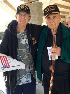 Lou Borovansky and Doug Borges shared their memories at the Sylvan Cemetery Veterans Day event. Photo by Heidi Borges