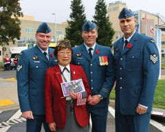 Retired Airforce nurse Kiyo Sato (94) met Royal Canadian Air Force officers from a contingent stationed at Beale AFB. Photo by Susan Maxwell Skinner