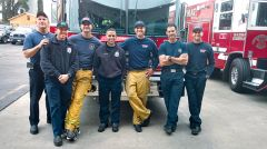 From Station 109, (left to right):  Engineer Doug Boan, Captain Scott Lohmeyer, FF Tim McNew, FF Justin Gallisdorfer, Engineer Ty Smith, Captain Jeff Hickman, FF Eric Gravin.