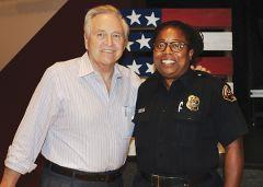 Senator Nielsen greets retiring Sacramento Metro Fire PIO Michell Cummings. Photo by Susan Maxwell Skinner