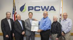 Dane Wadlé of California Special Districts Association presents the District Transparency Certificate of Excellence to the PCWA Board of Directors. Photo courtesy PCWA