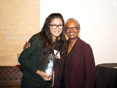 Siven Ly of Rancho Cordova receives United Way's Young Leaders Society Member of the Year award from Stephanie Bray at a recognition event earlier this month. Photo courtesy United Way.