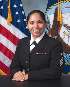 Sacramento native, Navy Seaman Valery Maritza Alvarez, a general duty hospital corpsman, was named the 2017 Blue Jacket of the Year for Naval Health Clinic Charleston, located at Joint Base Charleston- Naval Weapons Station, in Goose Creek, South Carolina. (Navy photo by Joe Bullinger)