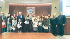 Winners of the Republic Services 2017/2018 Recycle Poster Contest pose with the Citrus Heights City Council at their January 25, 2018 council meeting. A presentation was made announcing the winners and presenting them with certificates and gift cards to Barnes and Noble. Photo Courtesy of City of Citrus Heights