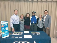 (From left to right) – Darrell Dante, Carrie Ellinwood and Heather Luzzi from the US Small Business Administration, along with June Livingston, BERC Supervisor, Marianne Conarroe, from Ken Cooley's office, and David Nelson, CA Department of Tax and Fee Administration, all reached out to help local small business owners at the event.