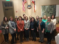 Teachers will use SI Loomis Grants for special classroom projects (L-R back row): Cynthia Buhler (wearing striped poncho), Tracey Curry, Katie Branzuela, Kelsie Dales, Hailey Crosta, Kathleen Bales, Carrie Marovich; (L-R front row): Jennifer Wood, Patty Sleizer, Claudia Diele, Susan Czapkay, Debra Brayfindley, Christy Aday. Photo courtesy Karen Fraser-Middleton