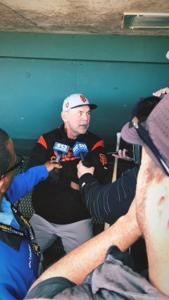 Giants manager Bruce Bochy addresses the media before Saturday's game. Photo by Rich Peters