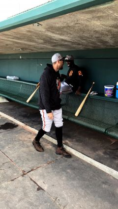 Giants corner outfielders Hunter Pence and Andrew McCutchen joke around during batting practice. Photo by Rich Peters