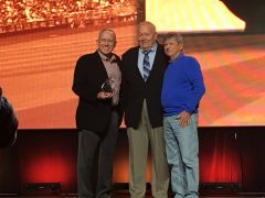 Recipients of the 2018 ABCA Dave Keilitz Ethics in Coaching Award: Longtime Stanford Cardinal head coach Mark Marquess (left) and Guy Anderson (right) with award committee chair Tom O'Connell. Photo courtesy American Baseball Coaches Association