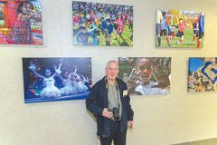 Photographer Rick Sloan is shown with some of his numerous photos of Rancho Cordova events in the fine arts exhibit honoring the Cordova Recreation and Park Districts 60th anniversary. Photo by Jose Lopez