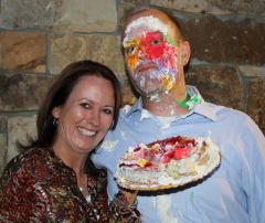 Chamber of Commerce director Katie Pexa made a winning bid to cram cake in the face of fellow director Joe Green.