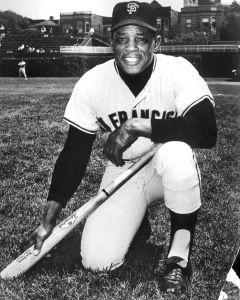 Highlights include San Francisco Giants home jersey game worn by Willie Mays in 1965, the season he led the NL with 52 home runs and won his second NL MVP Award. Considered the game's greatest all-around player, Mays has lived in California since moving with the Giants in 1958.