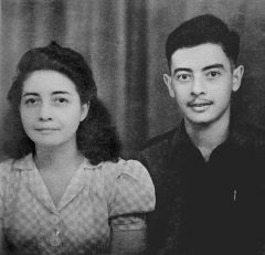 Photographed with his mother in 1946, schoolboy Rudy and his parents spent the years of WWII as prisoners of war. Family photo.