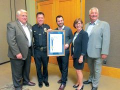 (L-R) Councilman Al Fox, Chief of Police Ron Lawrence, Johnathan Glatz of Assemblyman Ken Cooley's office, Chamber Executive Director Cendrinne DeMattei, Mayor Steve Miller.
