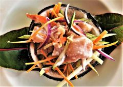 Poisson cru, raw tuna marinated in lime juice and coconut milk, is a signature dish of Tahiti.