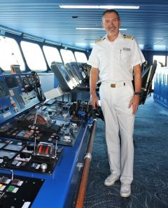 Captain Toni Mirkovic on the Paul Gauguin bridge.