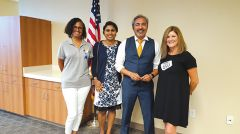 A variety of Rancho Cordova citizens and other interested people attended the Rancho Cordova Luncheon.  Here Sheryl Smith, left, owner of Smith Real Estate Services; Sirisha (Siri) Pulapati, candidate for CRPD Board; Congressman Ami Bera; and Cari Zarou, owner of Pocket Deli share a photo op after the program.