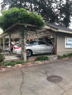 On September 15, 2018, a car crashed into the Fair Oaks Historical Society. The driver was pulling into a parking space in front of the Historical Society and inadvertently hit the gas instead of the brake. Photo by Jim Pearce.