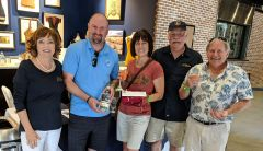 Stephanie and Ken Miller won the giveaway at J.J. PFister Distilling Company. (Left to right) PFister co-owner Gail Keck, Rancho Cordova City Council member Donald Terry, Stephanie Miller, J.J. PFister co-owner Kevin Keck, and Ken Miller.