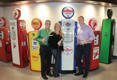 Ed Marszal (left) shares his company headquarters with a collection of vintage gasoline pumps. Daughter Annie and son Adam are executives for Marszal's Carmichael-based business that operates in four US states. Photo by Susan Maxwell Skinner