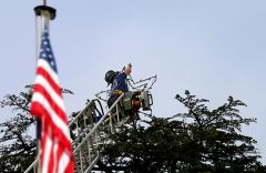 Sacramento Fire Fighters recently helped restore Palm Drive's Christmas tree star. Firefighter Jason Baldwin scaled a 100-foot ladder to replace lights on the Carmichael landmark.