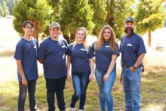 Cordova High School students studied timber harvest economics at Leoni Meadows Camp at the 2018 El Dorado Forestry Challenge. Left to right: Andrew Garnett, Charlie Budge, Logan Lammi, Giselle Johnston, Bret Harnden (advisor). Photo courtesy Forestry Challenge