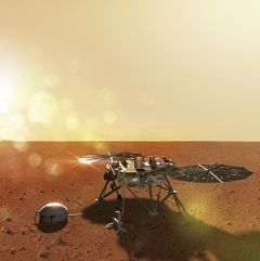 NASA's InSight Mars lander successfully touched down on the red planet with assistance of Aerojet Rocketdyne descent and landing propulsion. Credit: Lockheed Martin