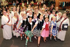 Daughters of Scotia members (in white) joined dancers from the Kyla Groeschel School of Highland Dance during celebrations at St Michael's Episcopalian Church, Carmichael.