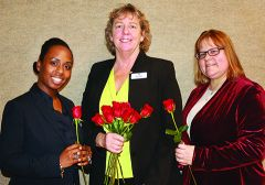 Retaining her role as Honorary Mayor, Kelli Foley (center) was congratulated by rivals Jamila Buada (left) and Kristen Garl.