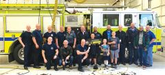"Sacramento County Airport Firefighters ""Brave the Shave"" in honor of  Captain Anderson. Photo courtesy Sacramento County."