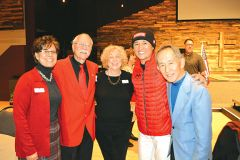 Taro Arai (in snowcap) gave an inspiring message at the Chamber luncheon. We stands with his father Koki at his right, the original owner of Mikuni restaurants. Also pictured are Virginia Stone, Executive Director of the Chamber of Commerce, Jim Warrick from Carmichael Elks, and local philanthropist Barbara Safford. Photo by Ron Cassity.