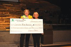 Honorary Mayor of Carmichael Kelli Foley presents check for $1852.93 to Sharon Ruffner, president of the Carmichael Parks Foundation.  Sharon Ruffner is on the right.  Kelli Foley is on the left.