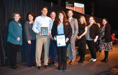 Members of Redtail Technology received awards joined by Rancho Cordova Chamber members. Pictured with award in hands, beginning left center to right: Andy Hernandez, COO; Krysta Malonson with award in hands, Director of PeopleOps; Ryan Oakes, Director of DevOps; Alison Hawkins, Director of Customer Service; Sarah Thomas, Managing Team Lead, Customer Service. Photo by Rick Sloan
