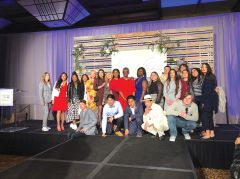 Stephanie Bray of United Way stands with keynote speaker September Hargrove, emcee Kitty O'Neal from KFBK and local foster youth at the annual Women United Luncheon where she called for a summit to address foster youth graduation rates. Photo courtesy United Way.